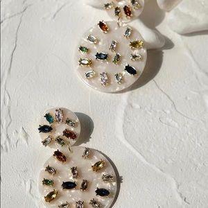 NWT Anthropologie Crystal Resin Drop Earrings